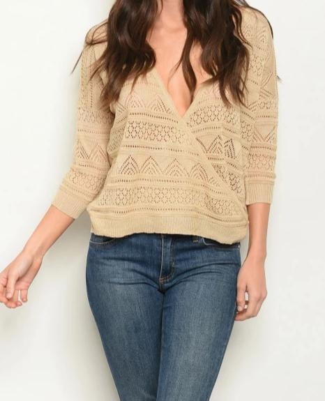 Women's V Neck 3/4 Sleeve Crochet Light KnitTop - Lookeble