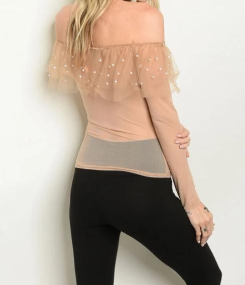 Off The Shoulder Ruffled Pearl Detail Top
