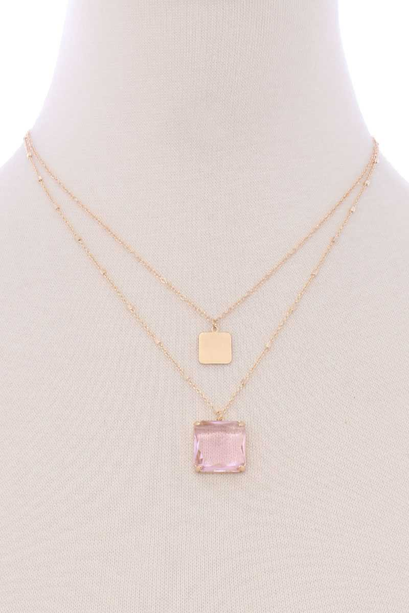 Two Layered Square Pendant Necklace - Lookeble