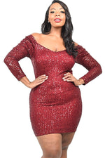 Women's Plus Size Sequined Long Sleeve Mini Dress - Lookeble