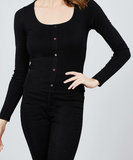 Scoop Neck Front Button Detail Knit Top