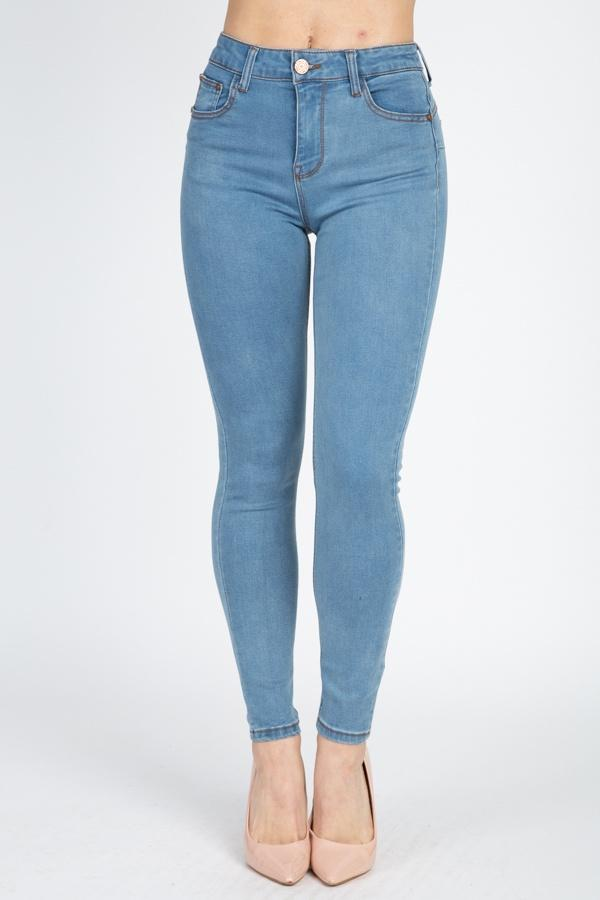 High Rise Denim Skinny Jeans - Lookeble