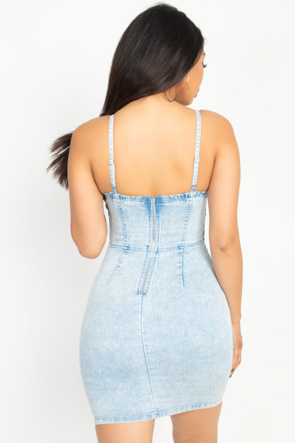 Acid Wash Denim Bustier Dress - Lookeble