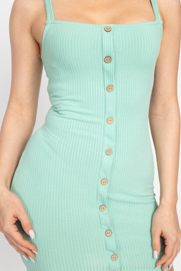 Center Button Ribbed Mini Dress