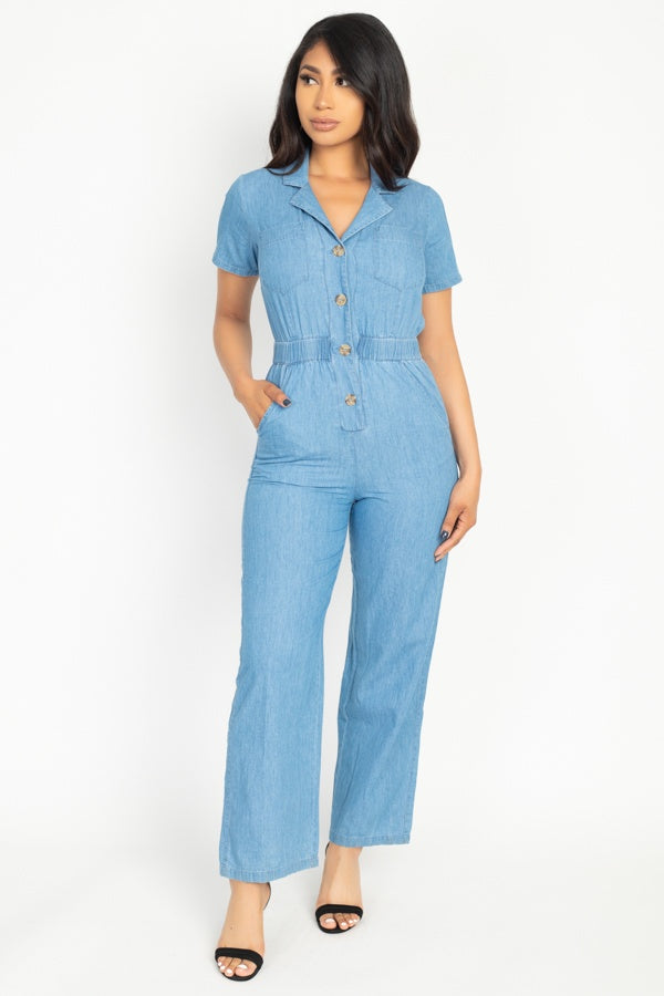 Women's Button Front Short Sleeve Elasticized Waist Denim Jumpsuit Romper