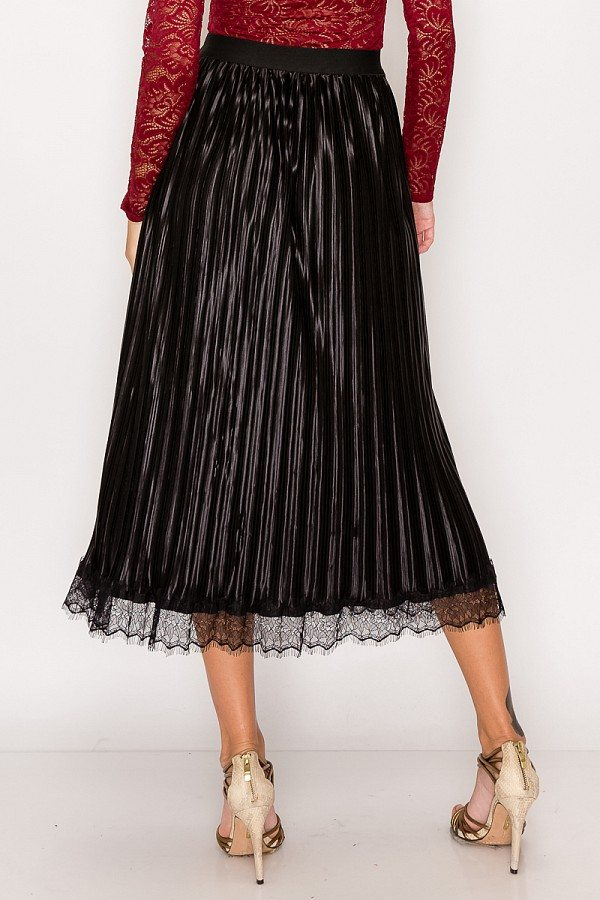 Women's Lace Trim Solid Accordion Pleated Midi Skirt