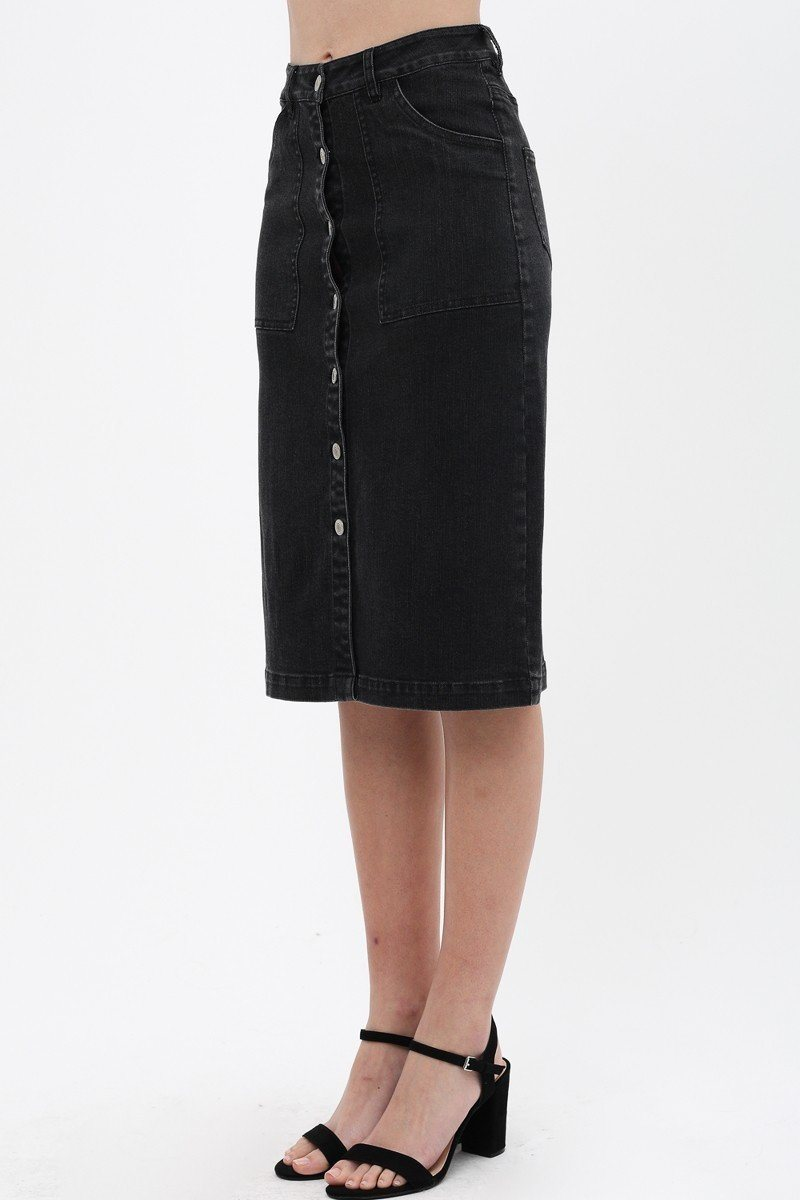 Women's Solid Center Button Down Detail Denim Midi Skirt