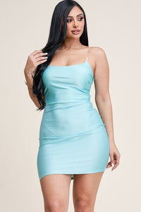 Solid Tank Mini Dress with Clear Straps - Lookeble