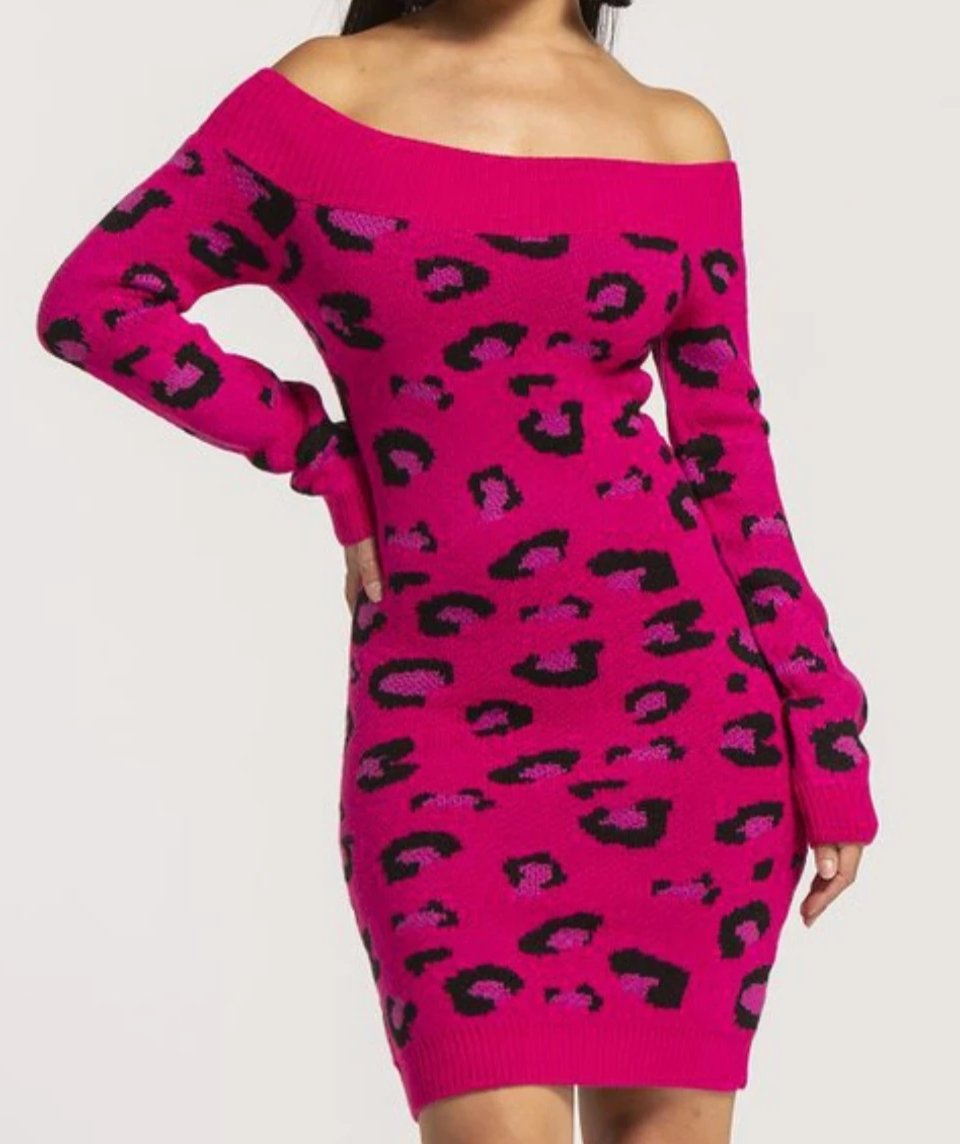 Leopard Print Sweater Dress - Lookeble