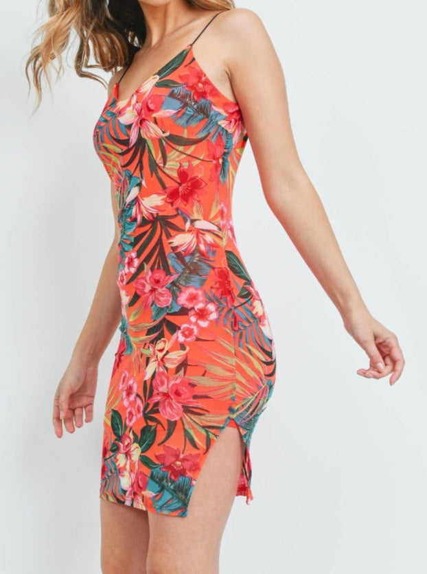 Women's Coral Floral Print Cami Strap Mini Dress - Lookeble