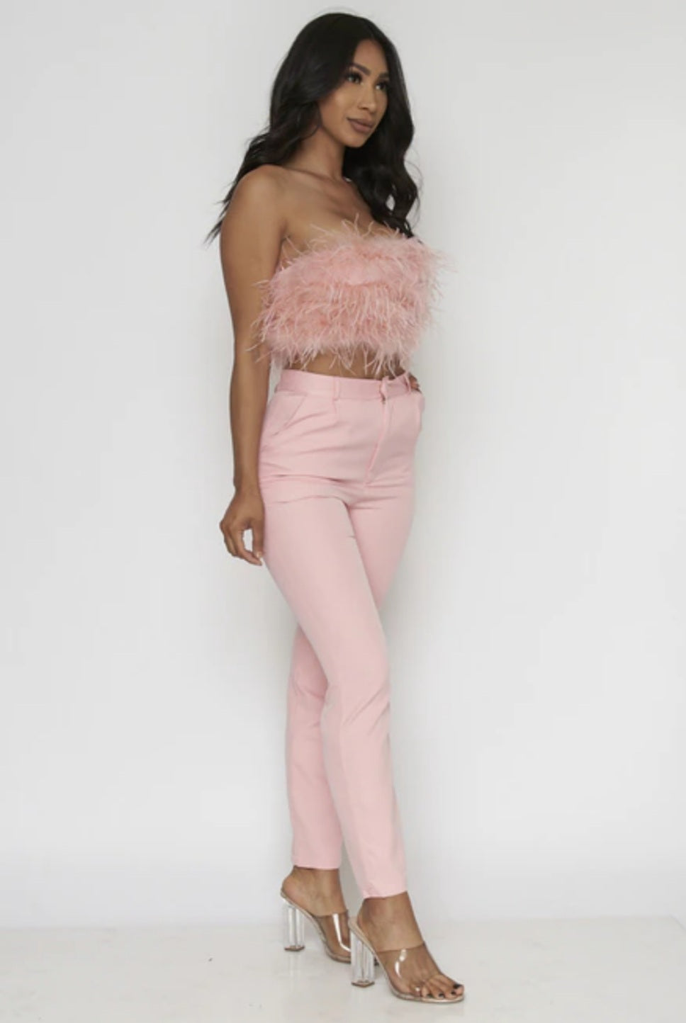 Women's Pink Feathered Tube Top & Pants Set