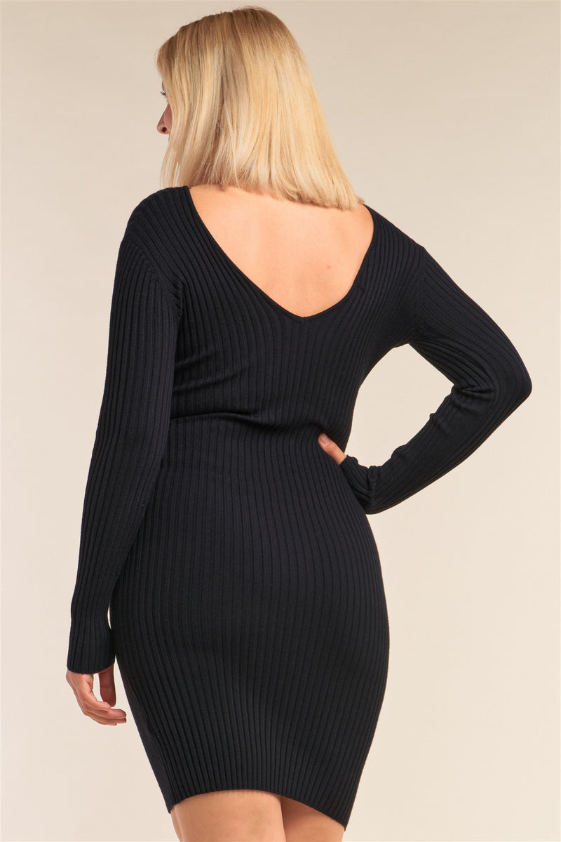Women's Plus Size V-neck Long Sleeve Ribbed Sweater Bodycon Mini Dress
