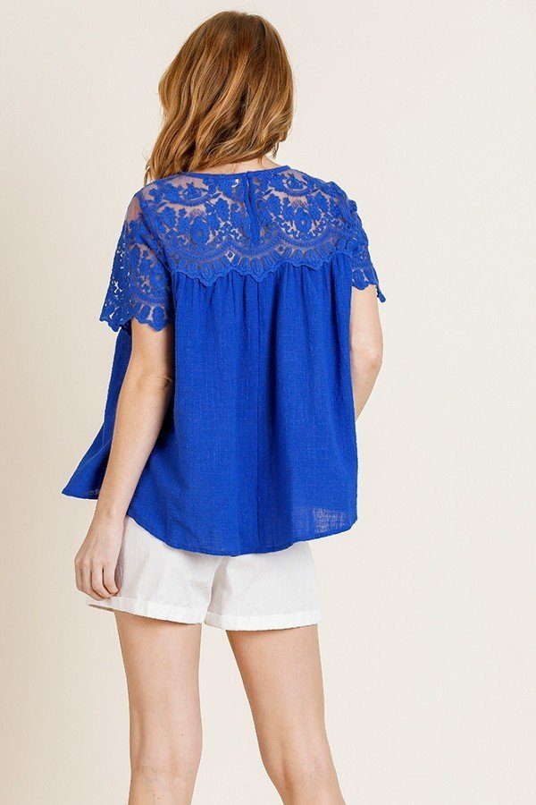 Short Sleeve Floral Lace Sheer Top - Lookeble