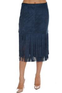 Faux Suede Pencil Fringe Skirt - Lookeble