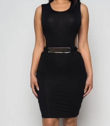 Open Back With Belt Mini Dress - Lookeble
