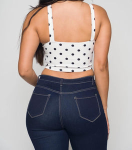 Women's Sweetheart Neckline Sleeveless Polka Dots Crop Top