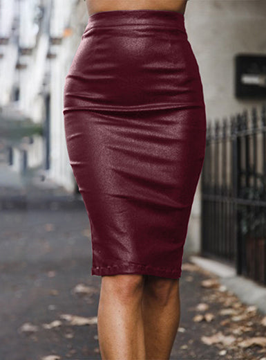 Knee Length Pleather Pencil Skirt - Lookeble