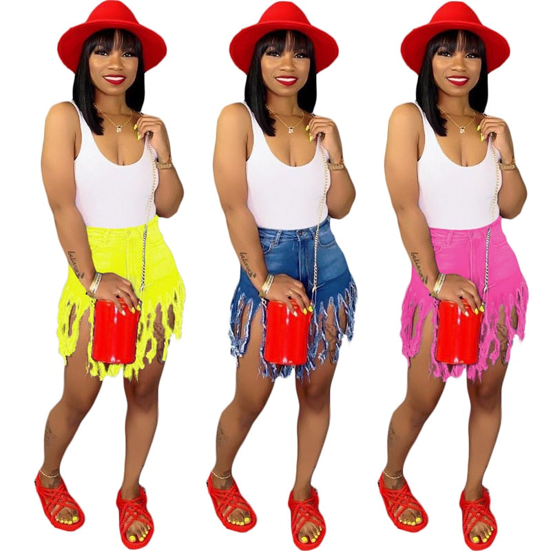 Solid Color Fringed Denim Shorts - Lookeble