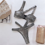 Metallic Snake Skin Patterned Bikini - Lookeble