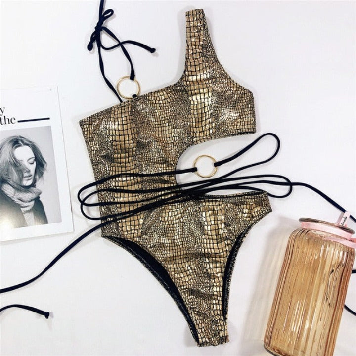 Shiny Snake Skin Print One Piece Swimsuit