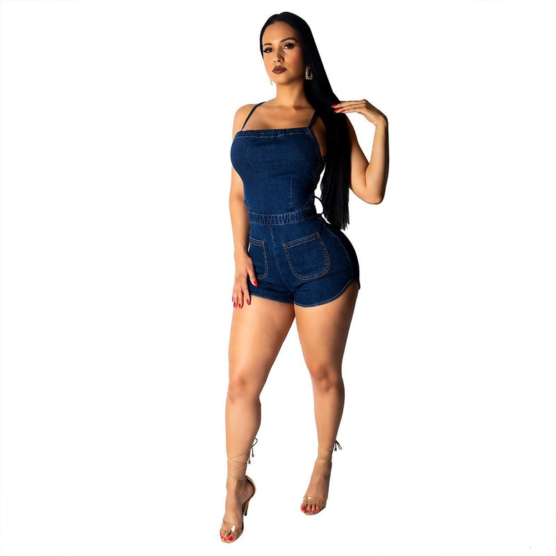 Women's Backless Spaghetti Strap Lace Up Denim Romper - Lookeble