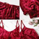 Women's Two Piece Velvet Sexy Lingerie Top And Shorts Sleepwear Set