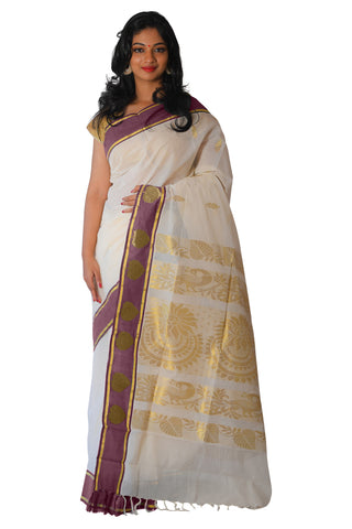 Kerala Kasavu Heavy Woven Work Saree with Maroon Border