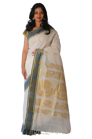 Kerala Kasavu Heavy Woven Work Saree with Black Border