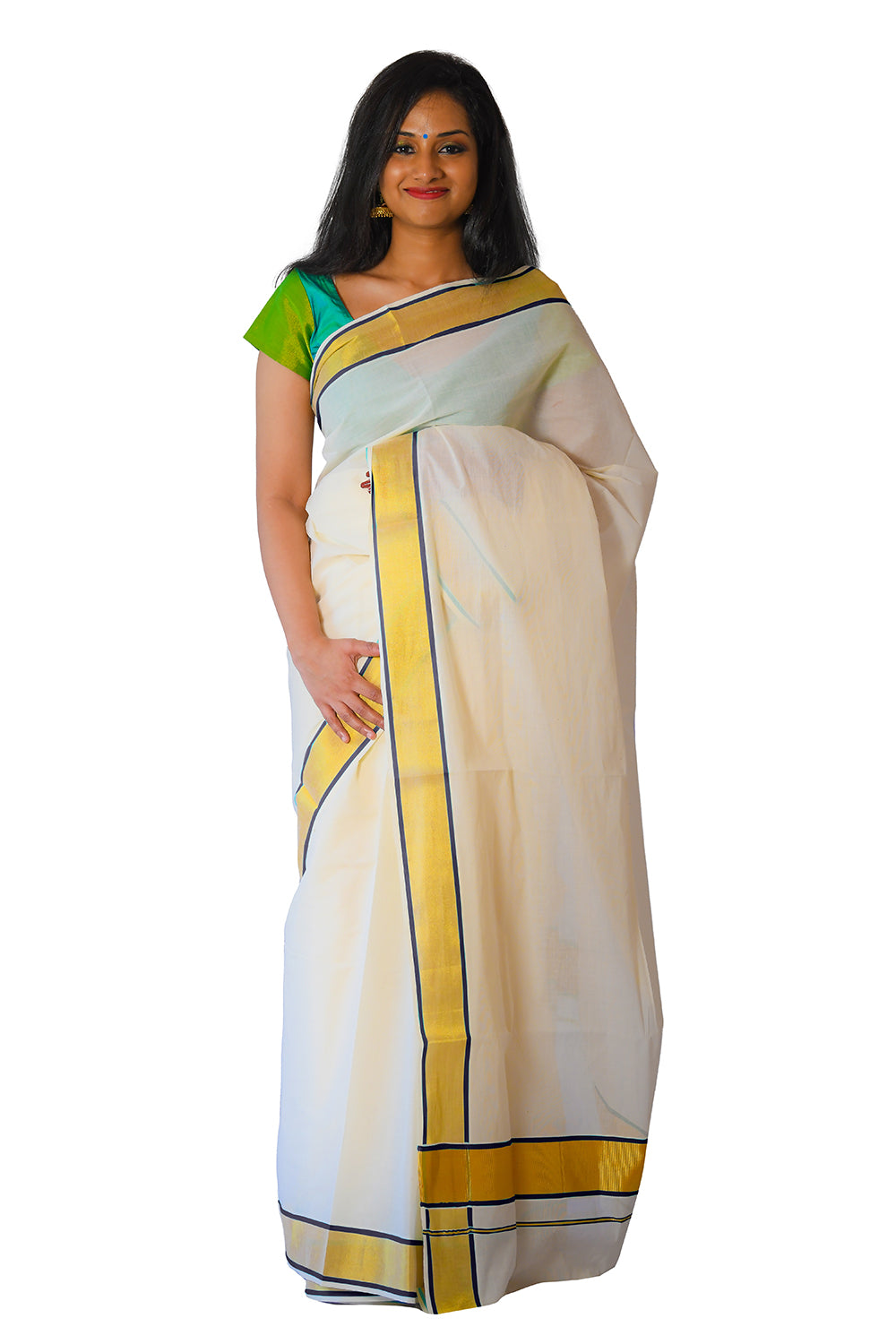 Kerala Kasavu and Purple Colour Border Saree