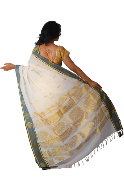 Kerala Kasavu Heavy Woven Work Saree with Dark Green Border