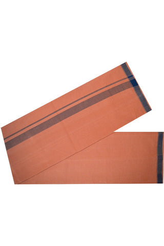 Southloom™ Balaramapuram Handloom Single Kaavi Mundu (Saffron Dhoti) with Handloom Mark | Weaver: Chandran
