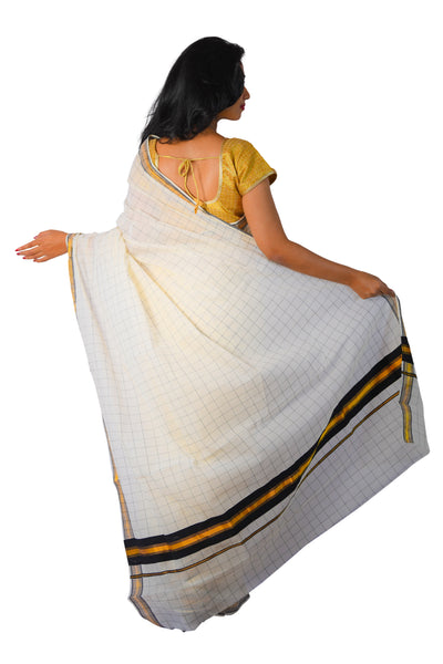 Kerala Kasavu Woven Check Saree with Black Border