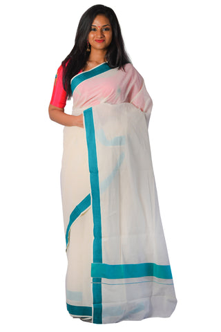 Kerala Saree with Plain Turquoise Border