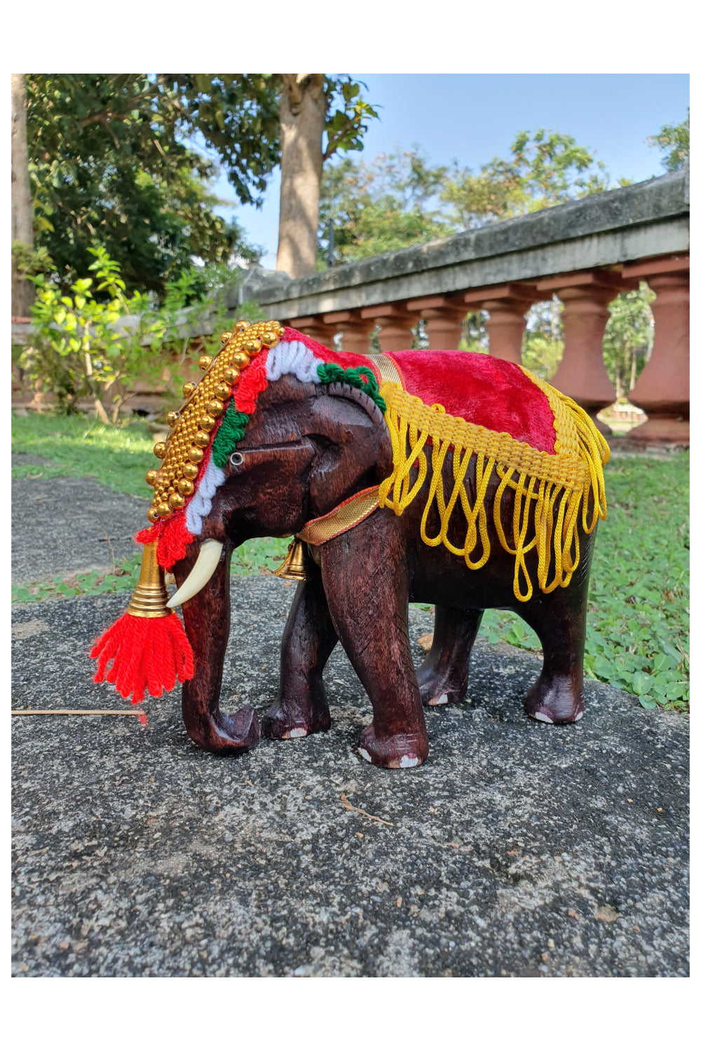 Southloom Handmade Temple Elephant Handicraft (Carved from Mahogany Wood) 6 Inches