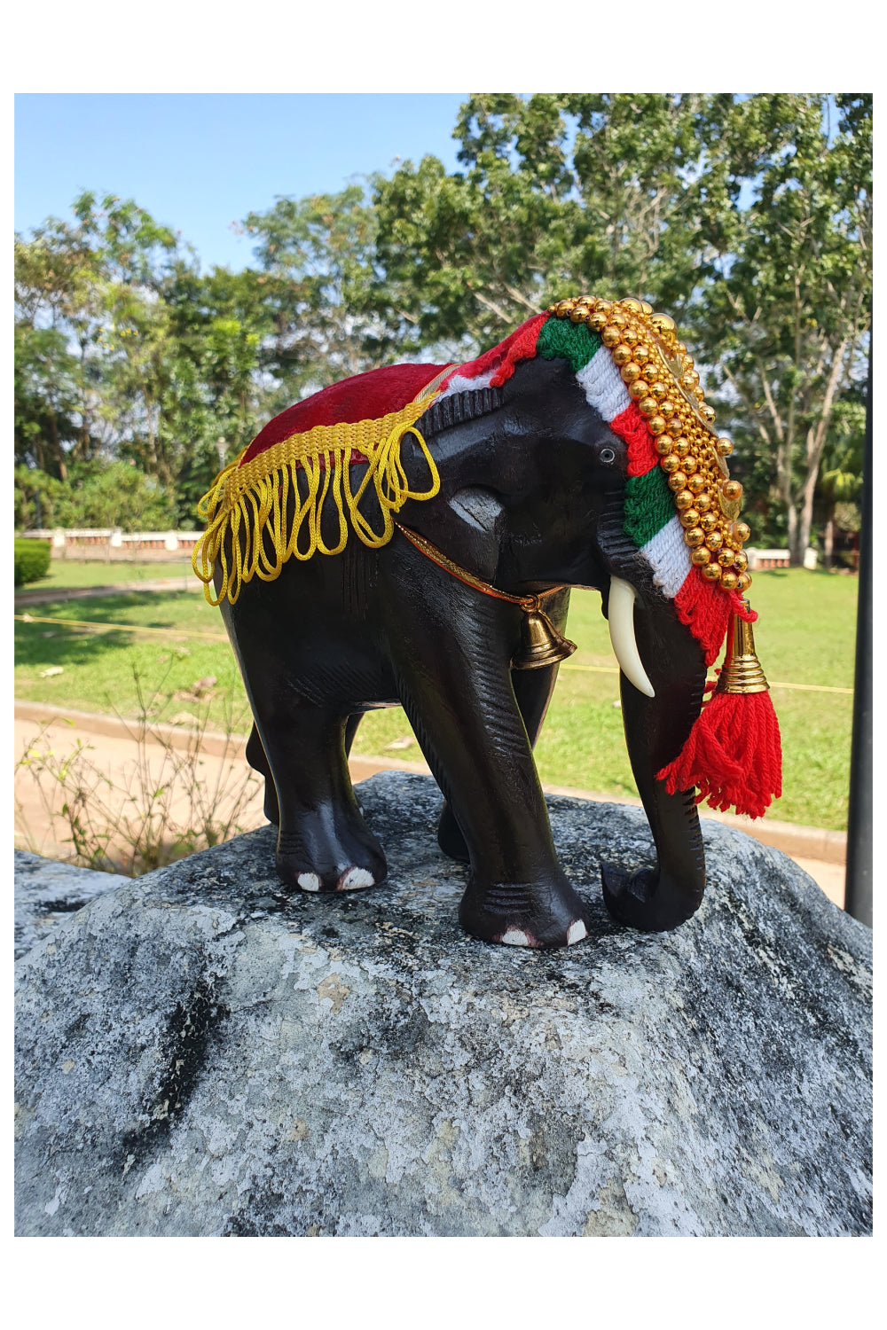 Southloom Handmade Temple Elephant Handicraft (Carved from Mahogany Wood) 8 Inches