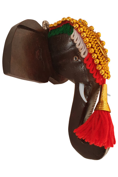 Southloom Handmade Temple Elephant Head Handicraft (Carved from Mahogany Wood) 6 Inches