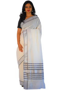 9bfe44d2dc1 Kerala Saree with Silver Tissue Kasavu and Black Colour Lines on Pallu