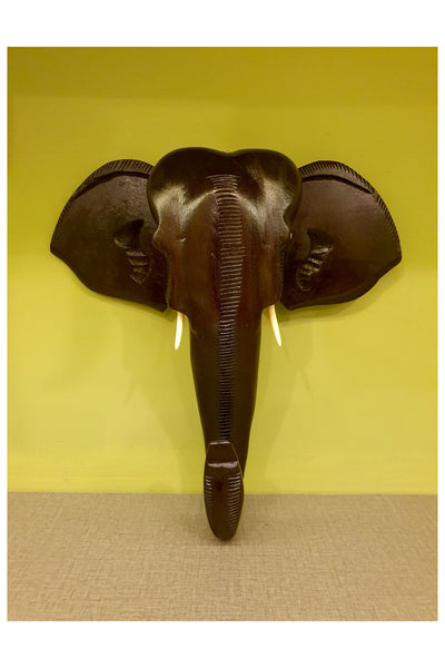 Southloom Handmade Elephant Head Handicraft (Carved from Mahogany Wood) 12 Inches