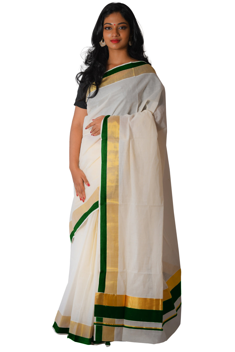 Kerala Kasavu Dark Green Colour Border Saree
