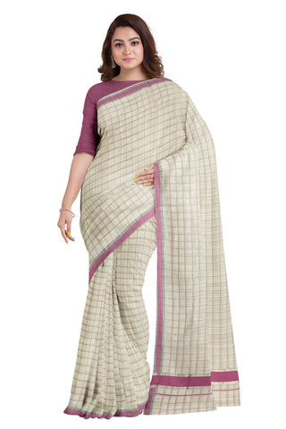 Kerala Silver Kasavu Woven Check Saree with Dark Pink Border