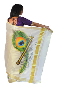 Kerala Tissue Kasavu Saree With Peacock Feather and Flute Design