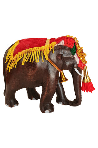 Southloom Handmade Temple Elephant Handicraft (Carved from Mahogany Wood) 5 Inches