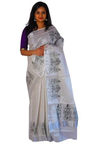 Silver Tissue Saree with Black Palanquin Mural Design