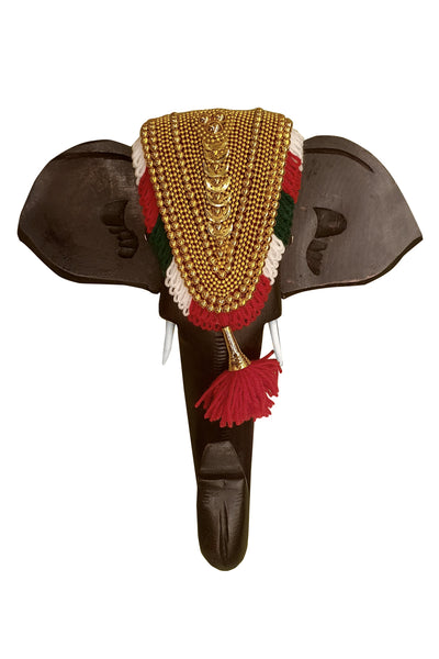 Southloom Handmade Temple Elephant Head Handicraft (Carved from Mahogany Wood) 10 Inches