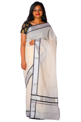Kerala Silver Kasavu and Black Colour Border Saree