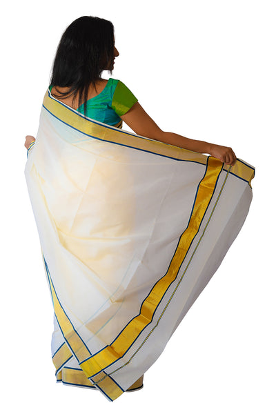 Kerala Kasavu and Navy Blue Colour Border Saree