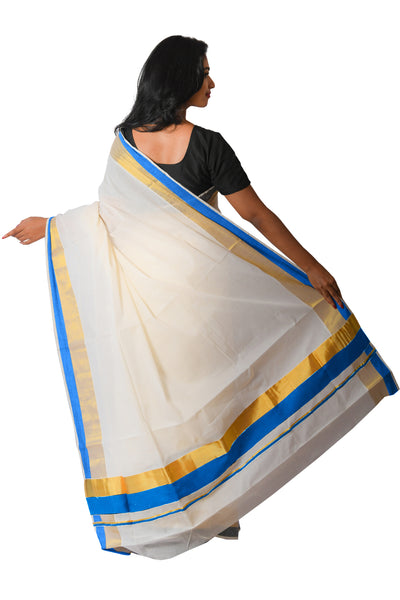 Kerala Kasavu Navy Blue Colour Border Saree
