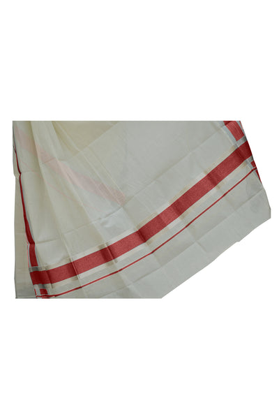 Mundum Neriyathum Single (Set Mundu) with Silver Kasavu and Red Border