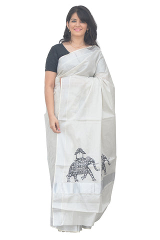Kerala Silver Tissue Kasavu Saree With Mural Elephant Bead Work