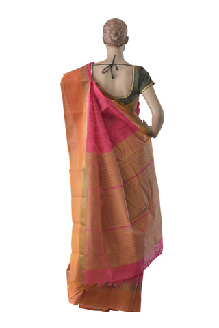 Southloom™ Premium Handloom South Cotton Red Orange Saree With Paisley Design